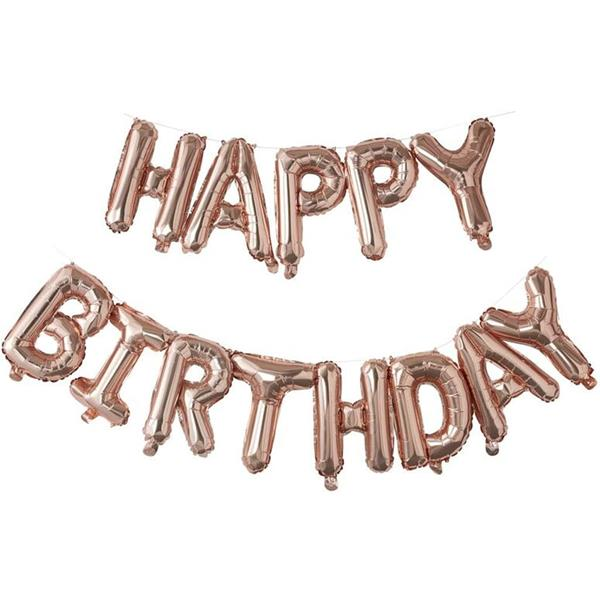 Grinalda Balões Happy Birthday Rosa Gold Foil