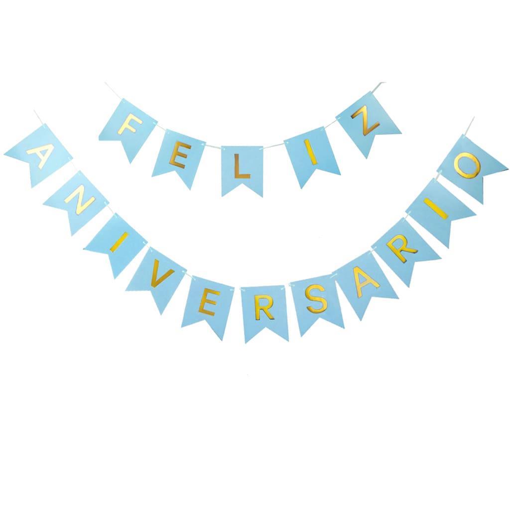 Grinalda Banner Feliz Aniversário Azul, 3 mt