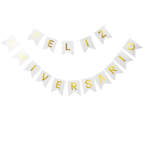 Grinalda Banner Feliz Aniversário Branca, 3 mt