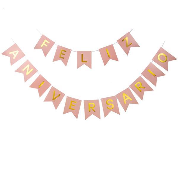 Grinalda Banner Feliz Aniversário Rosa, 3 mt