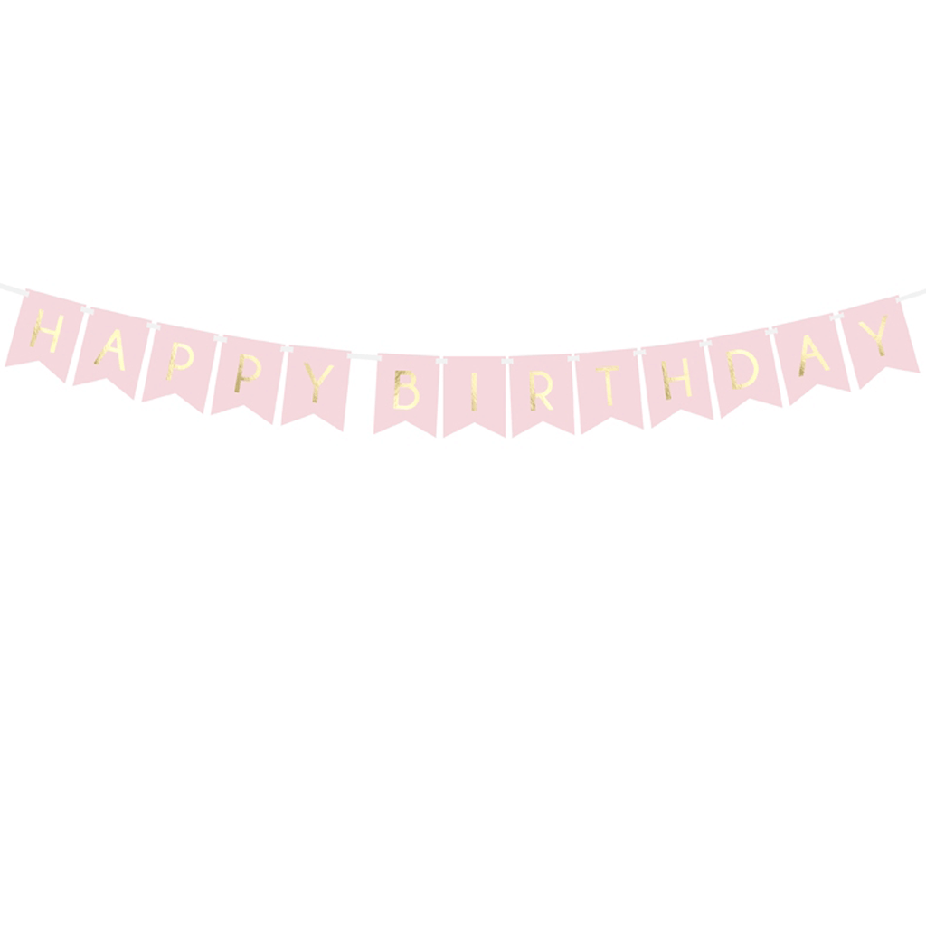Grinalda Banner Happy Birthday Rosa, 175 Cm