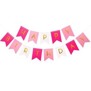 Grinalda Banner Happy Birthday Rosa e Branco, 5 mt