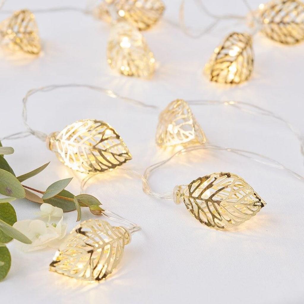 Grinalda de Folhas Douradas com Luz, 150 cm