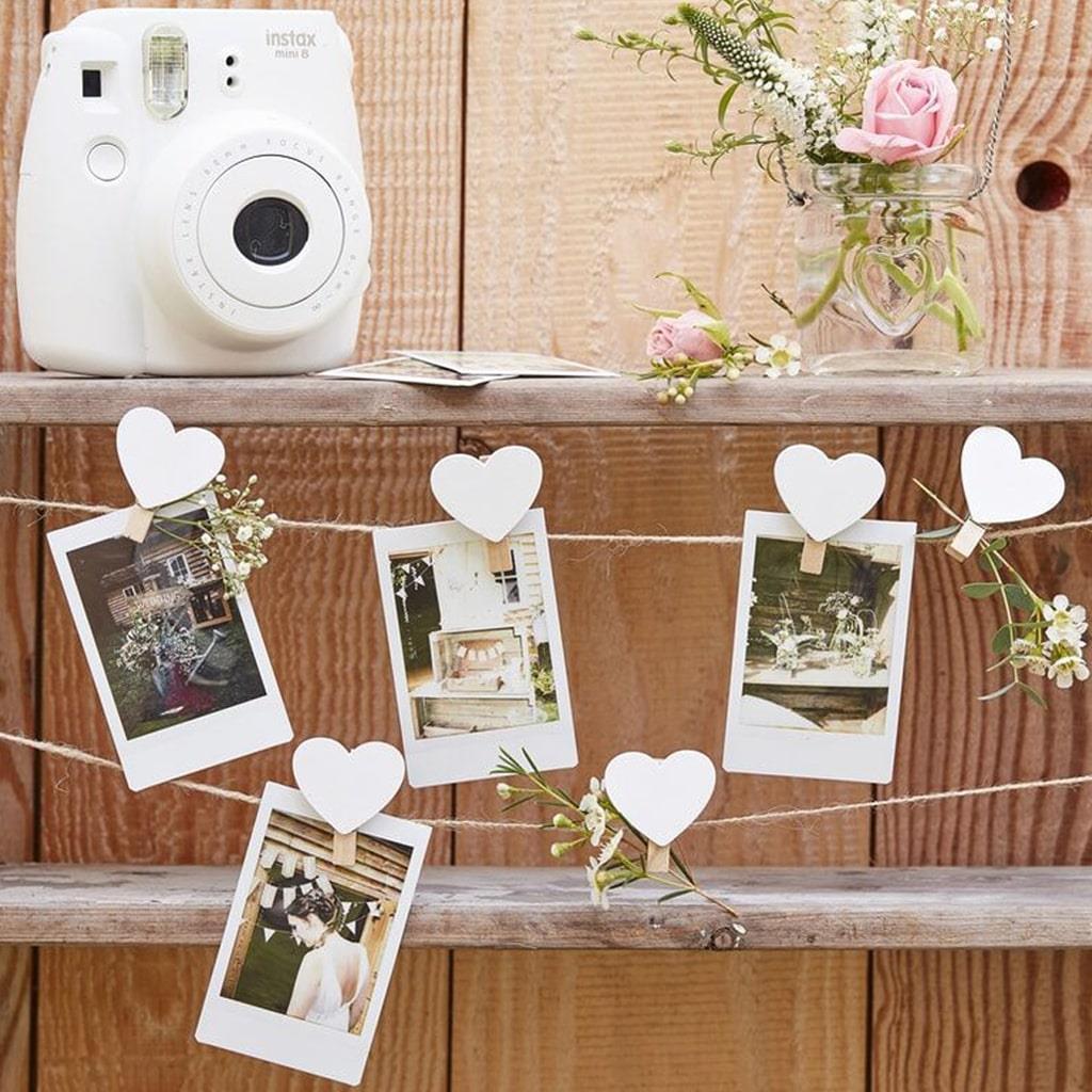Grinalda de Molas em Coração para Pendurar Fotografias, 500 cm