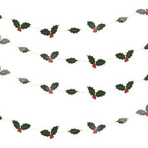 Grinalda Decorativa Azevinhos e Folhas, 500 cm