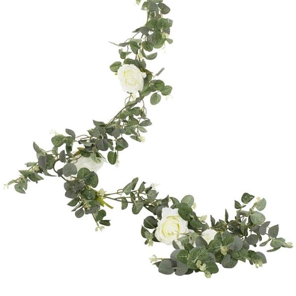 Grinalda Decorativa com Flores Brancas, 1,80 mt