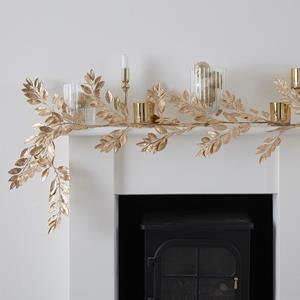 Grinalda Decorativa com Folhas Artificiais Douradas, 175 cm