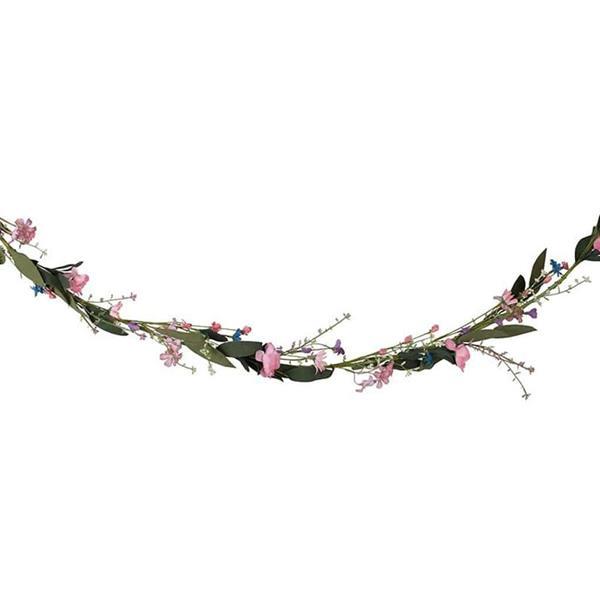 Grinalda Decorativa Flores Pastel com Folhas, 1,90 mt