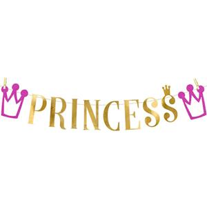 Grinalda Dourada Festa Princesa, 90 cm