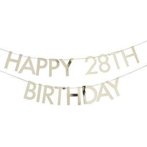 Grinalda Dourada Happy Birthday Idade Personalizável, 1.50 mt