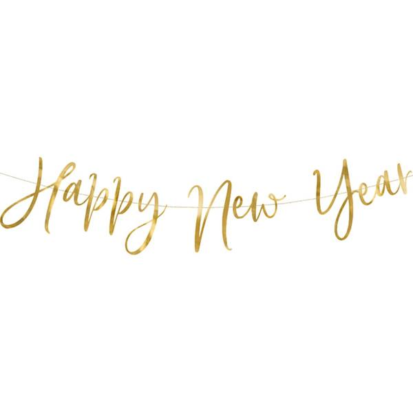 Grinalda Dourada Happy New Year, 200 cm