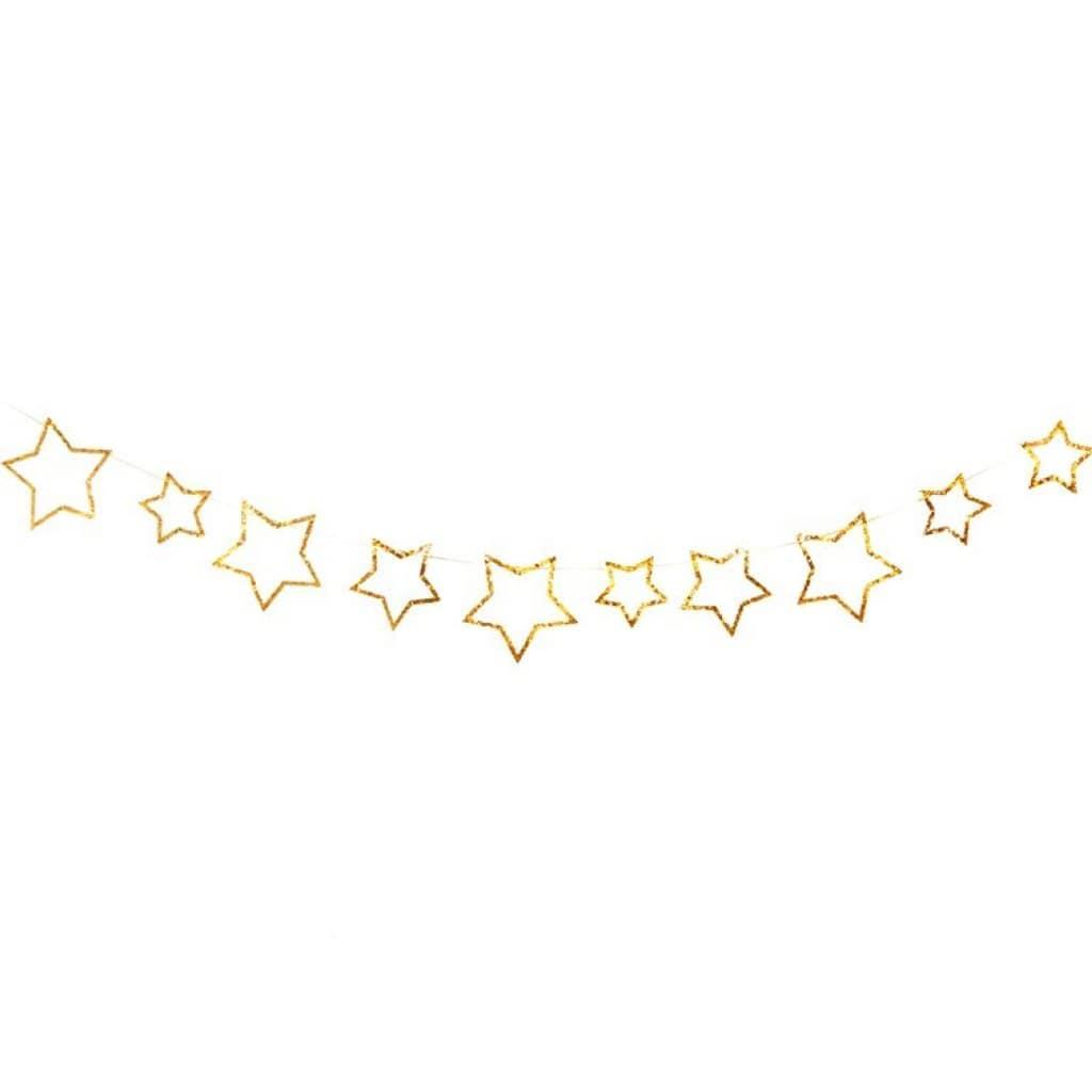 Grinalda Estrelas Douradas com Glitter, 300 cm