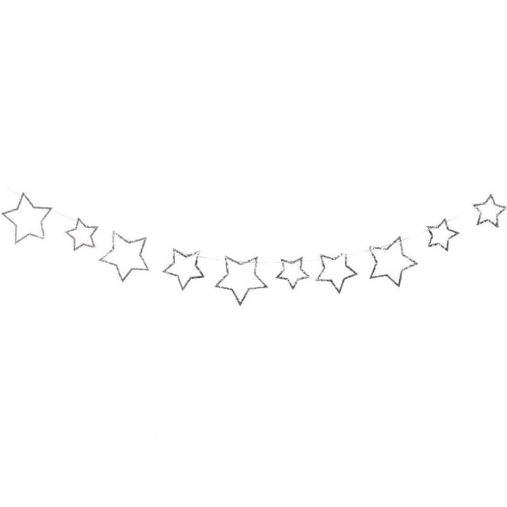 Grinalda Estrelas Prateadas com Glitter, 300 cm