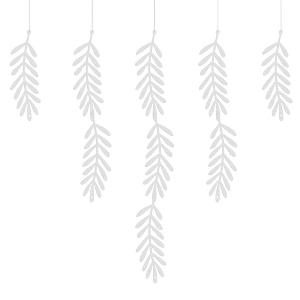 Grinalda Folhas Brancas, 180 cm