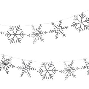 Grinalda Glitter Flocos de Neve Prateados, 300 cm