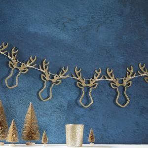 Grinalda Glitter Renas Douradas, 150 cm