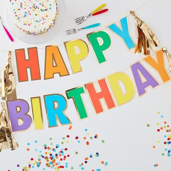 Grinalda Happy Birthday Arco Íris