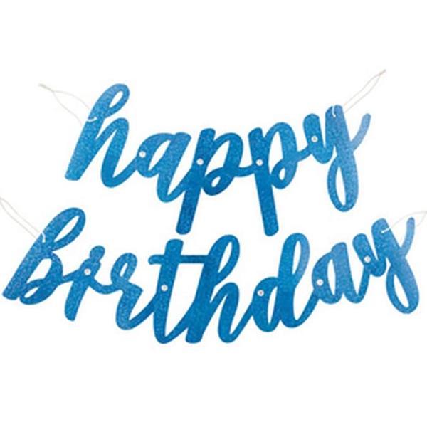 Grinalda Happy Birthday Azul Glitter, 275 cm