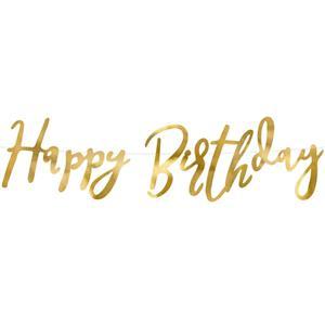 Grinalda Happy Birthday Dourada, 62 cm