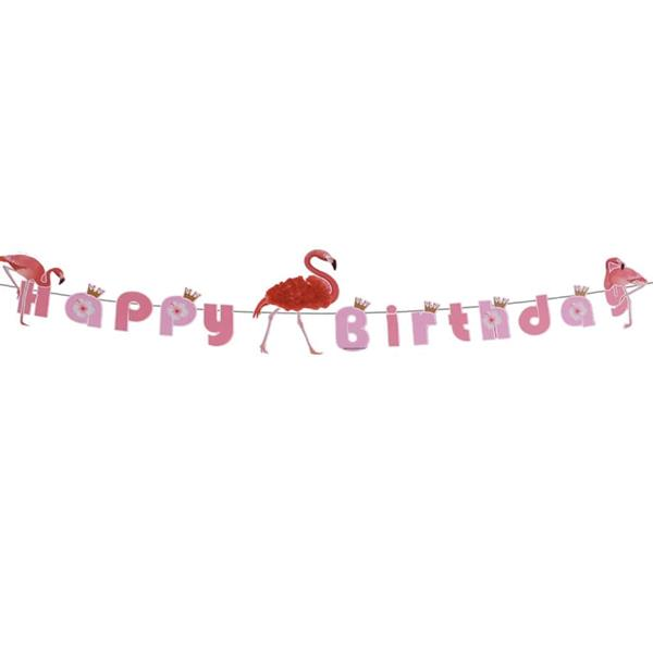 Grinalda Happy Birthday Flamingo, 350 cm