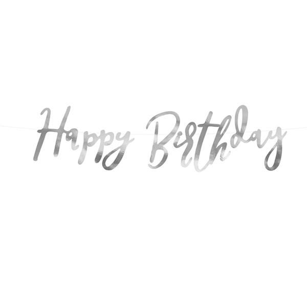 Grinalda Happy Birthday Prateada, 62 Cm