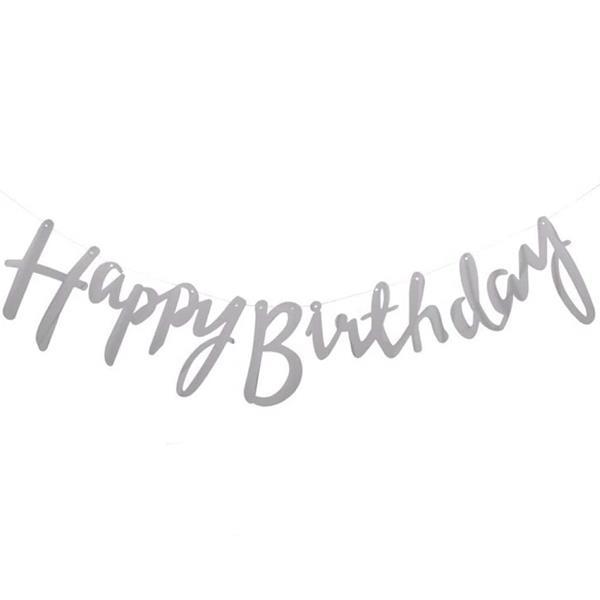 Grinalda Happy Birthday Prateada Metalizada, 215 cm