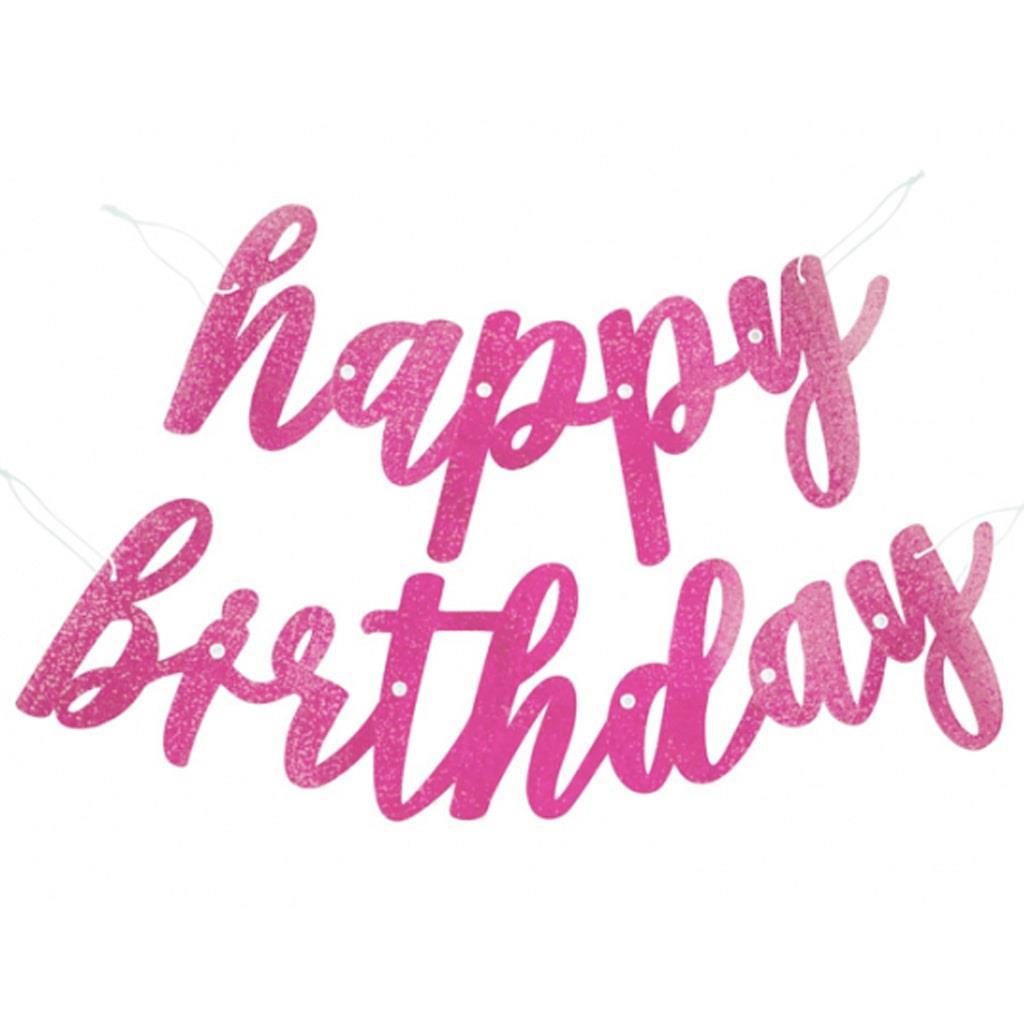 Grinalda Happy Birthday Rosa Glitter, 275 cm