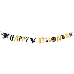 Grinalda Happy Halloween Preta e Laranja, 250 cm