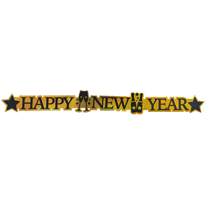 Grinalda Happy New Year Dourada, 113 Cm