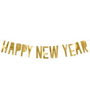 Grinalda Happy New Year Dourada, 90 cm
