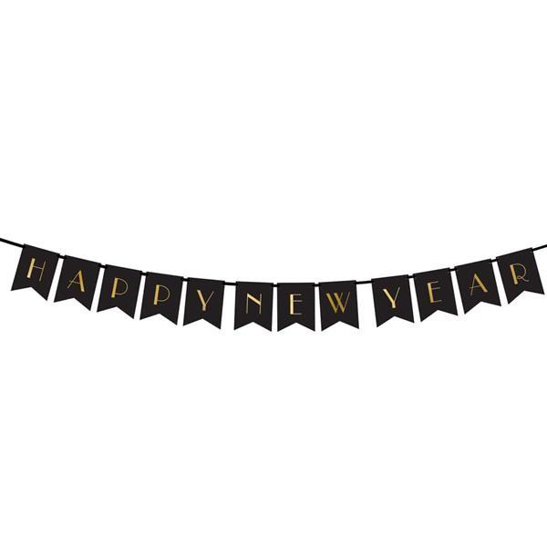 Grinalda Happy New Year Preta, 170 cm