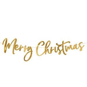 Grinalda Merry Christmas Dourada, 83 cm
