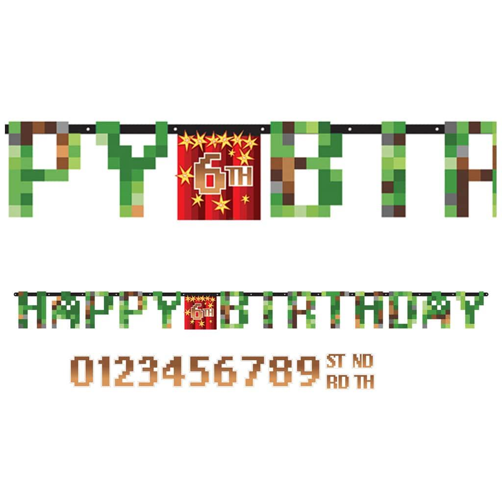 Grinalda Minecraft H-Birthday Idade Personalizável, 1.60 mt