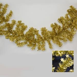 Grinalda Natal Dourada com Estrelas, 180 cm