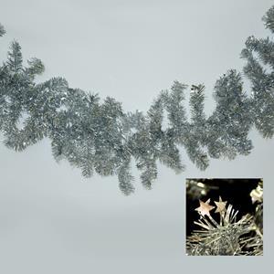 Grinalda Natal Prateada com Estrelas, 180 cm