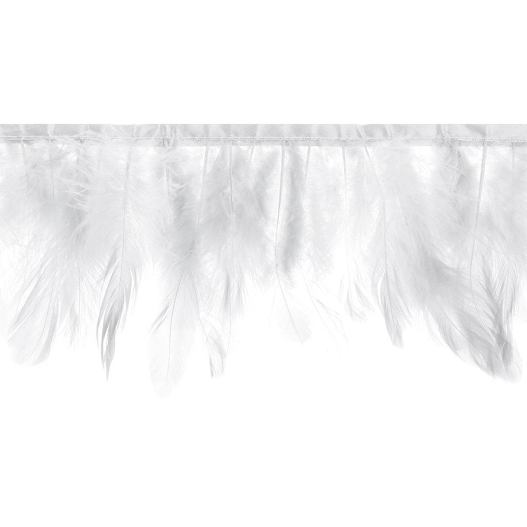 Grinalda Penas Brancas Naturais, 100 cm
