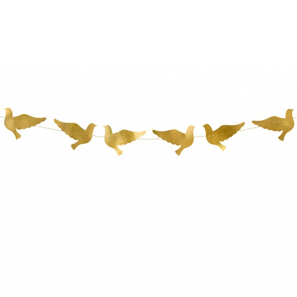 Grinalda Pombas Douradas, 86 cm