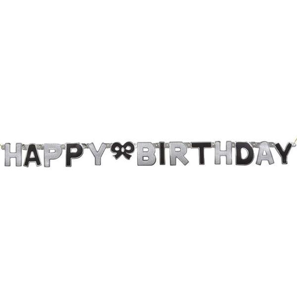 Grinalda Prateada Happy Birthday, 127 cm