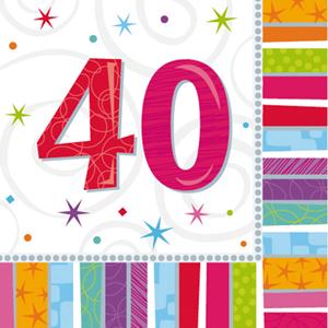 Guardanapos 40 Anos Multicor