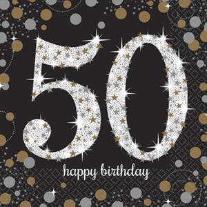 Guardanapos 50 anos Sparkling, 16 Unid.