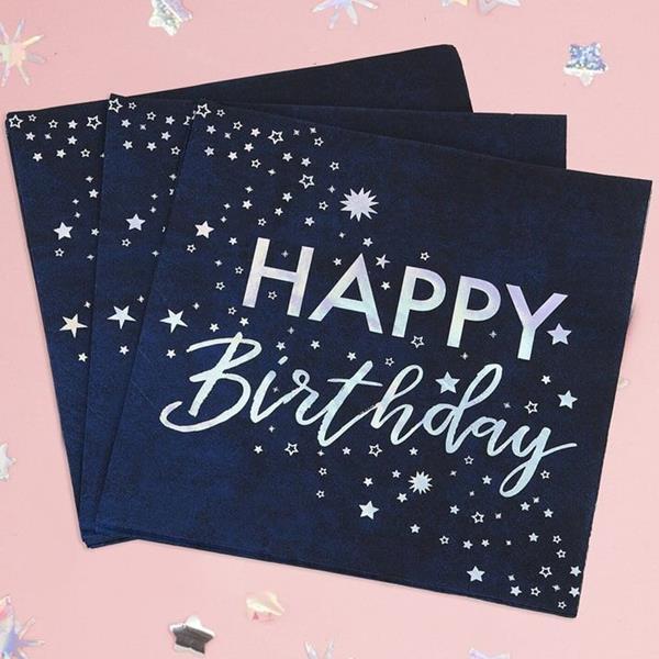 Guardanapos Azul Happy Birthday, 16 unid.
