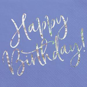 Guardanapos Azul Happy Birthday Iridescente, 20 unid.