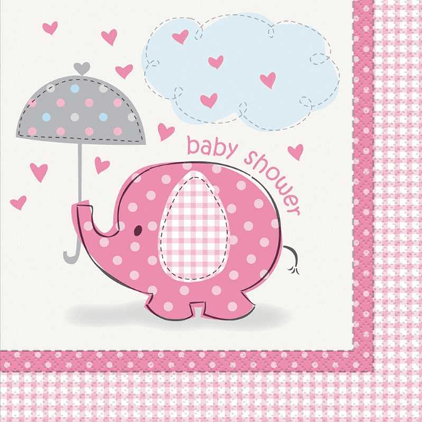 Guardanapos Baby Shower Elefante Rosa, 17 Cm, 16 Unid.
