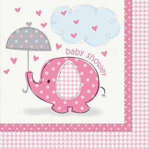 Guardanapos Baby Shower Elefante Rosa, 17 Cm, 16 Unid.
