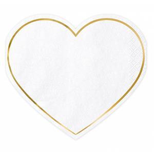Guardanapos Brancos Coração, 20 unid.