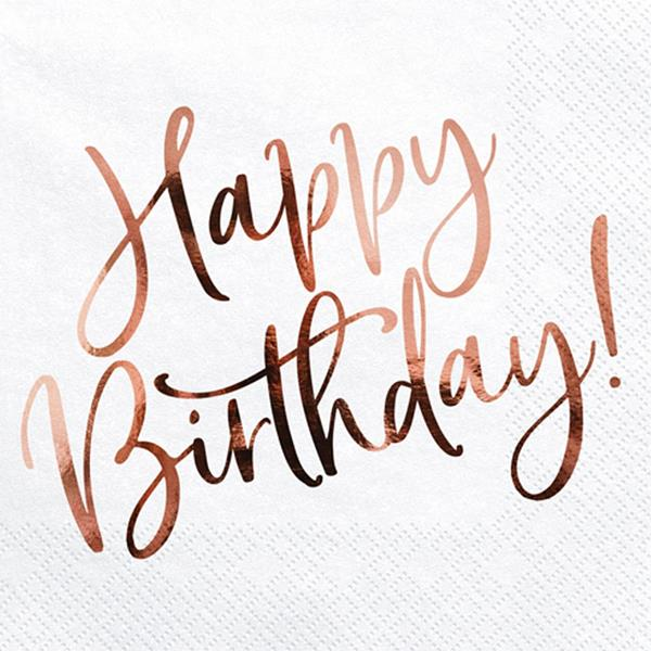 Guardanapos Brancos Happy Birthday Rosa Gold, 20 unid.