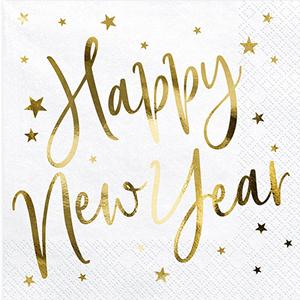 Guardanapos Brancos Happy New Year, 20 Unid.
