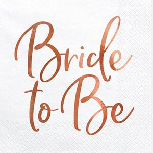 Guardanapos Bride To Be Rosa Gold, 20 unid.