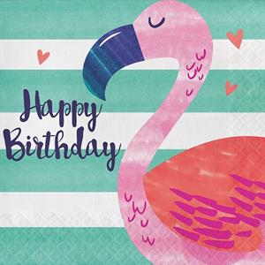 Guardanapos Flamingo Happy Birthday, 16 unid.