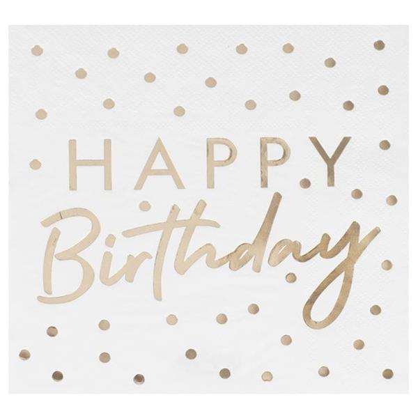 Guardanapos Happy Birthday Dourado, 16 Unid.